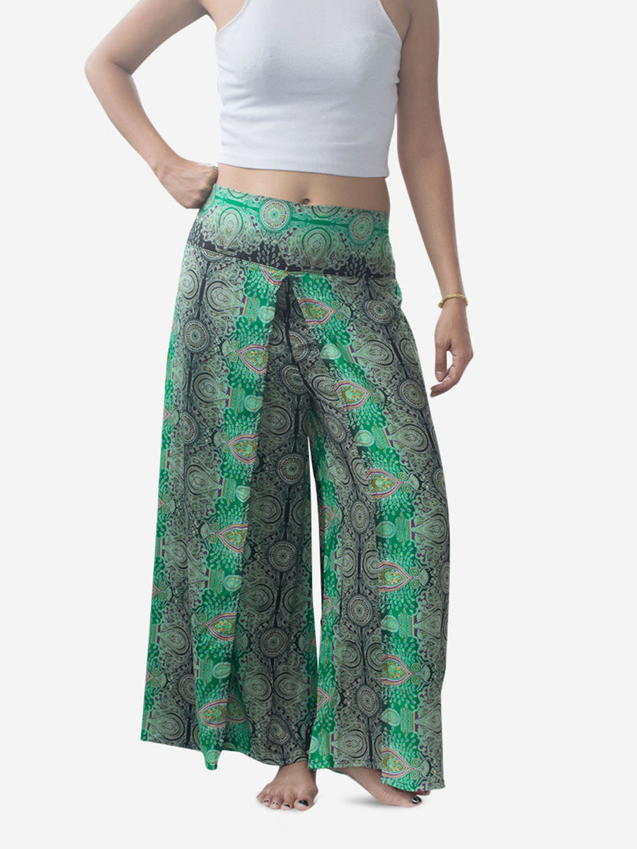 Bright Green Teardrop Palazzo Wrap Pants