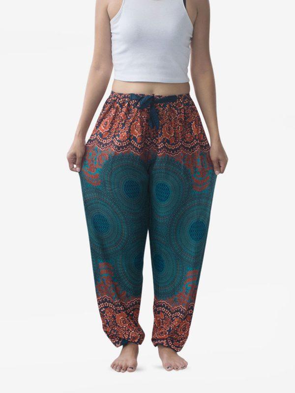 Ribbon Waist Turquoise Spiral Flower Harem Pants