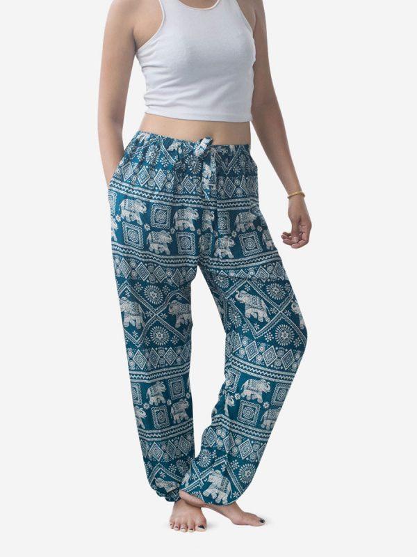 Tie Waist Turquoise Elephant Harem Pants