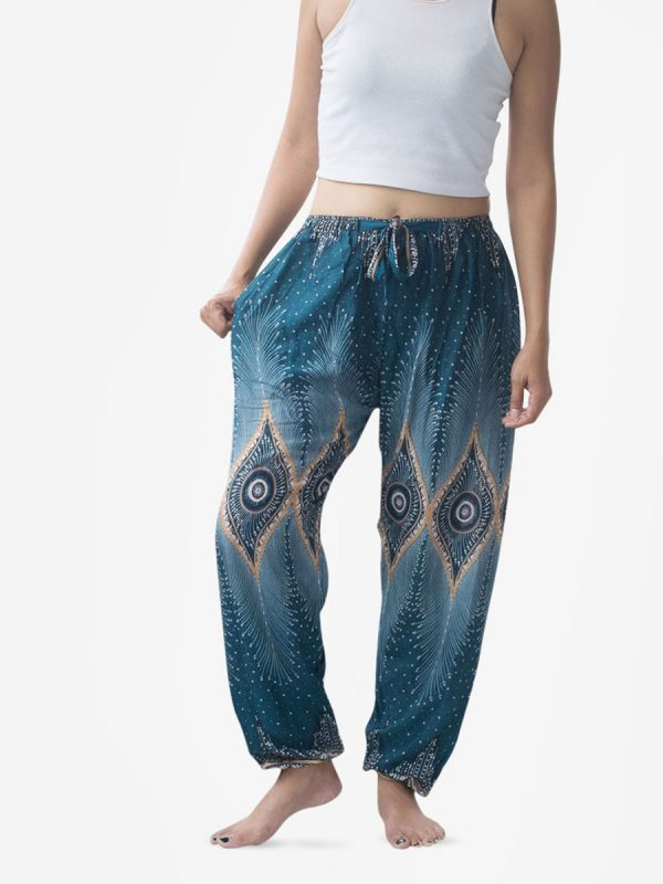 Tie Waist Turquoise & Gold Thai Harem Pants