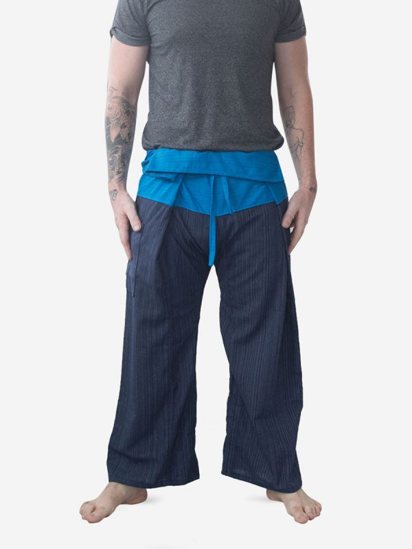 Men's Two Tone Blue Thai Fisherman Pants