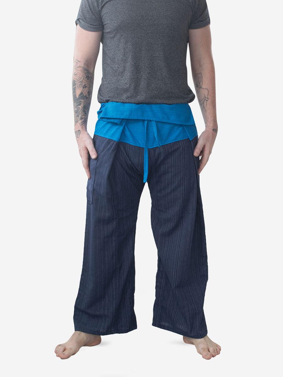 Men's Two Tone Blue Thai Fisherman Pants