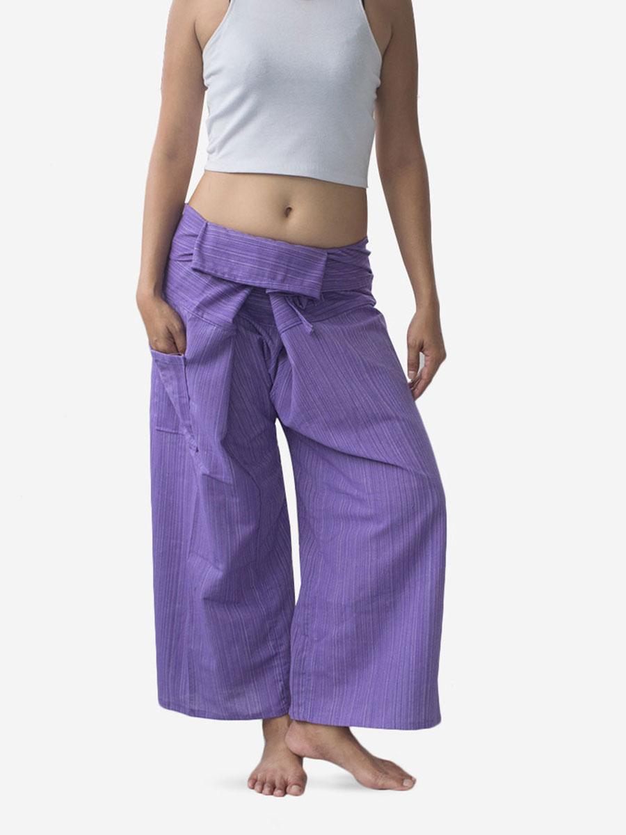 Women's Plain Purple Thai Fisherman Pants