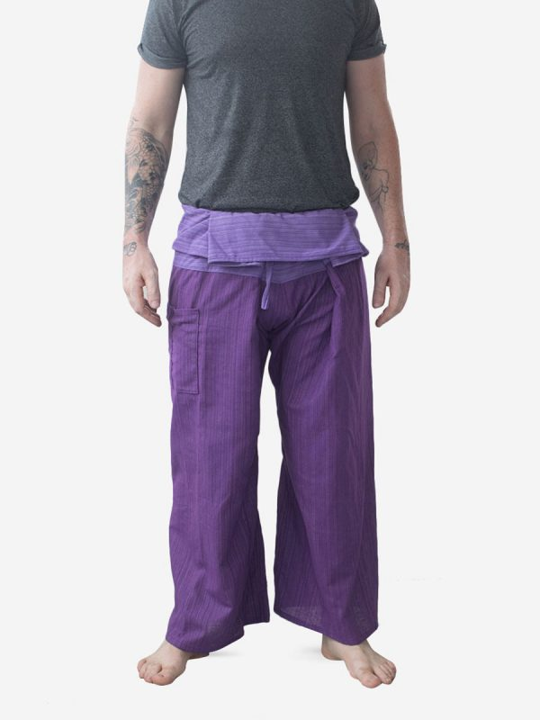 Men's Two Tone Purple Thai Fisherman Pants