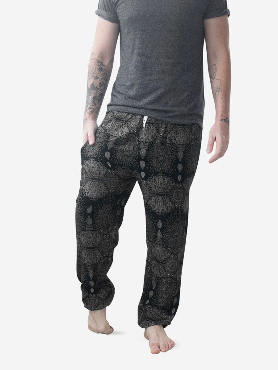 Black Raindrop Men's Thai Harem Pants