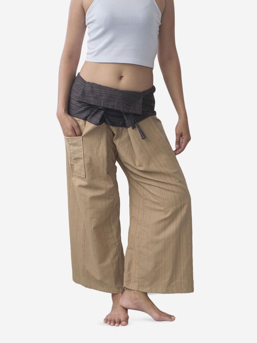 Women's Two Tone Brown Thai Fisherman Pants