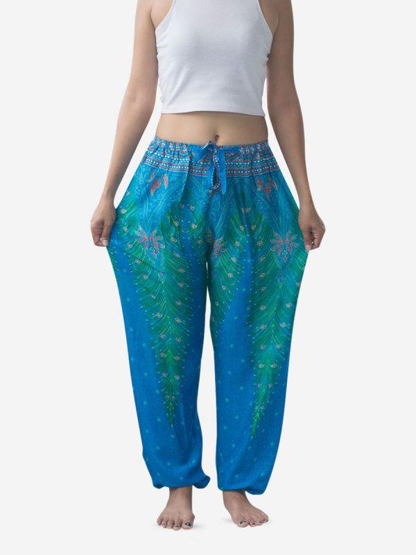 Tie Waist Ocean Blue Peacock Harem Pants