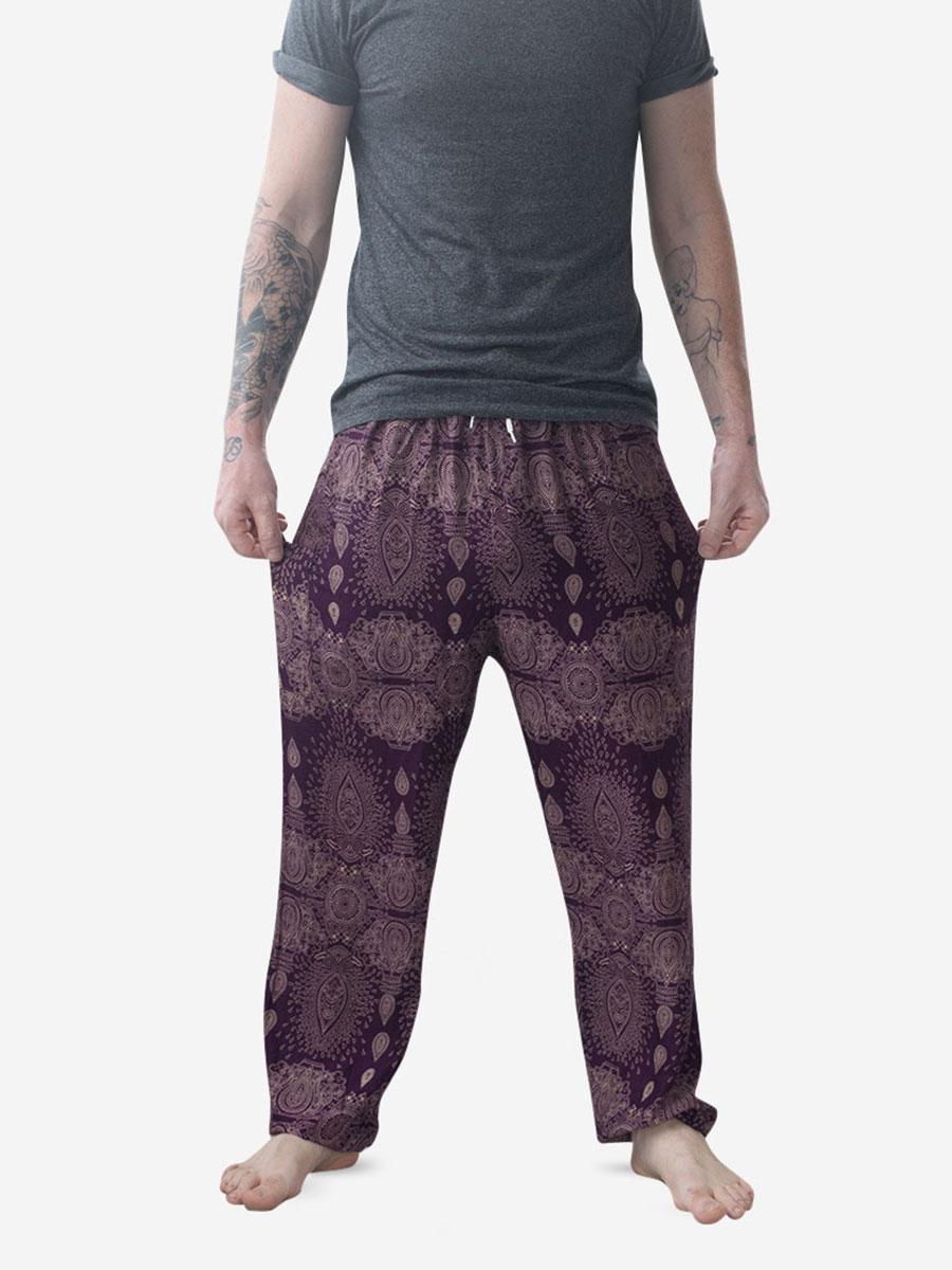 Men's Purple Raindrop Thai Harem Pants