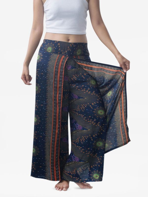 Blue Feather Harem Wrap Palazzo Pants