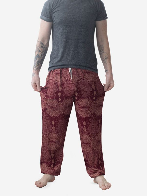 Burgundy Raindrop Men's Thai Harem Pants