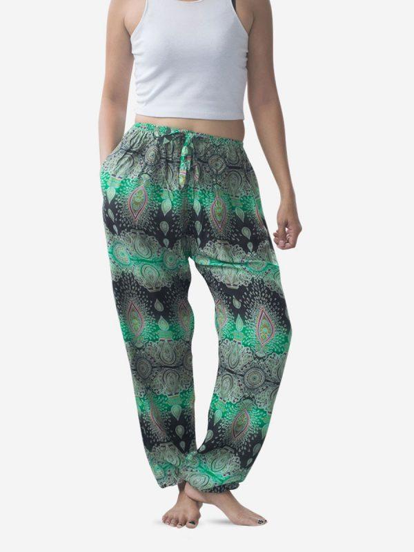 Tie Waist Teardrop Green Striped Harem Pants