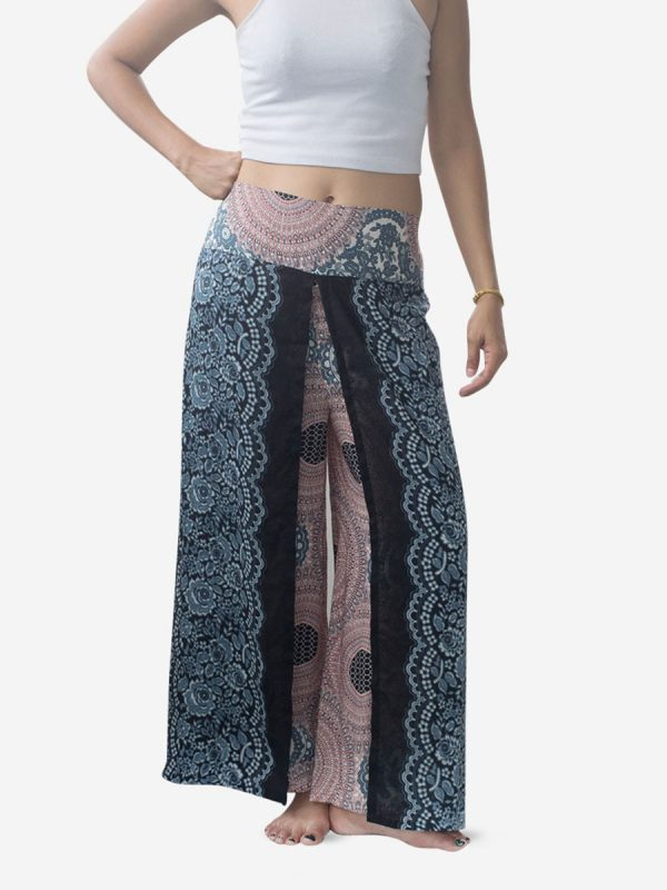 White Spiral Flower Palazzo Harem Pants