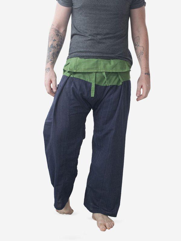 Men's Two Tone Green Thai Fisherman Pants