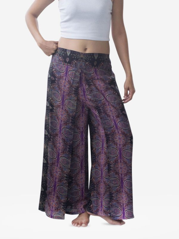 Purple Teardrop Harem Wrap Palazzo Pants