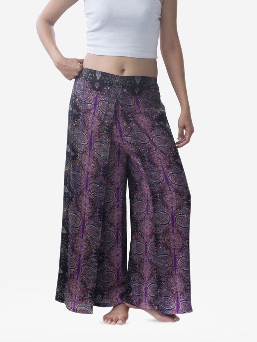 Purple Teardrop Harem Wrap Palazzo Pants