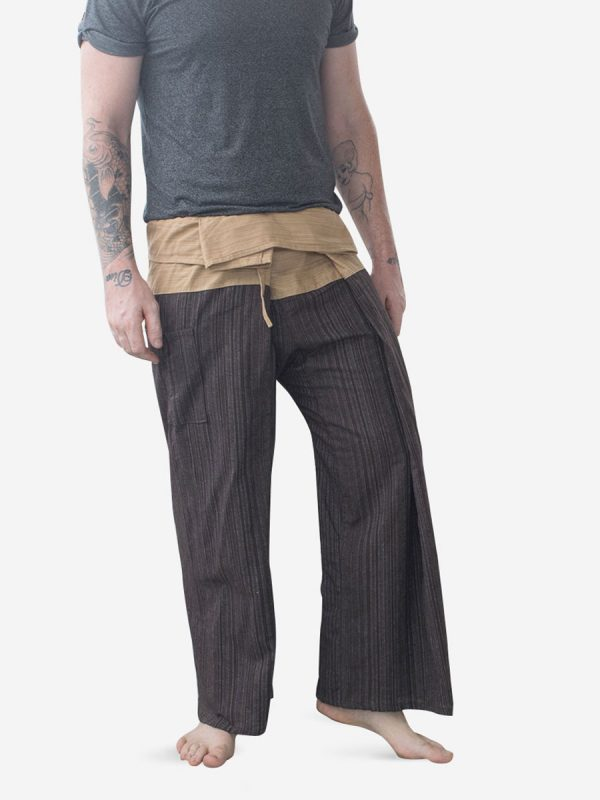 Men's Two Tone Brown Thai Fisherman Pants