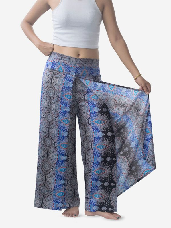 Bright Blue Teardrop Palazzo Wrap Pants