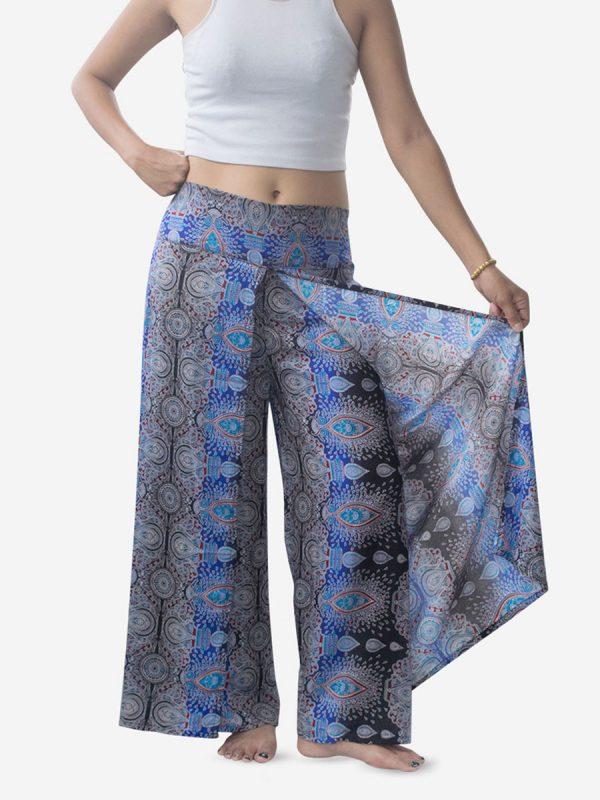 Bright Blue Teardrop Palazzo Wrap Pants