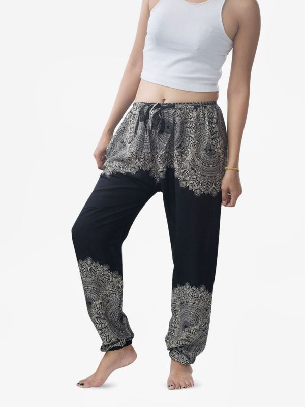 Black Feather Mandala Harem Pants