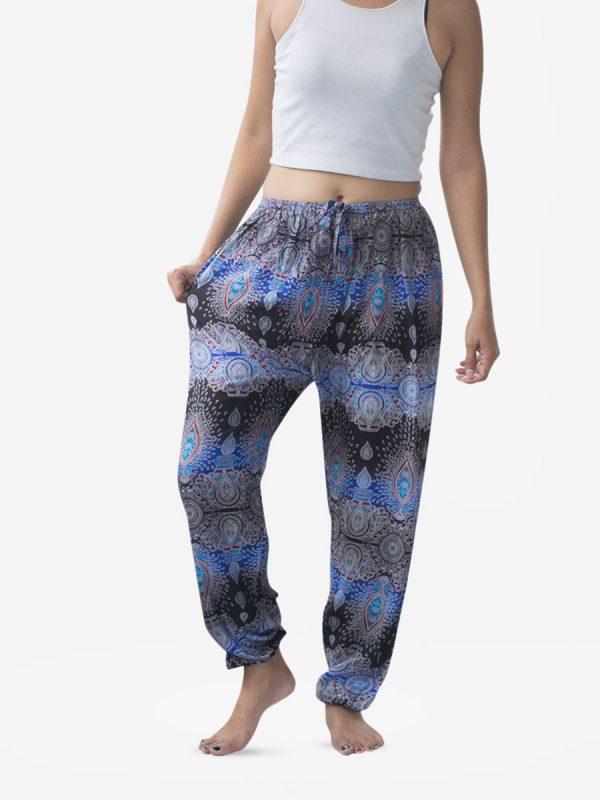 Tie Waist Blue Striped Thai Harem Pants