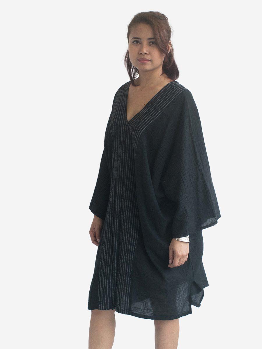 Black Thai Cotton Kaftan Poncho Tunic