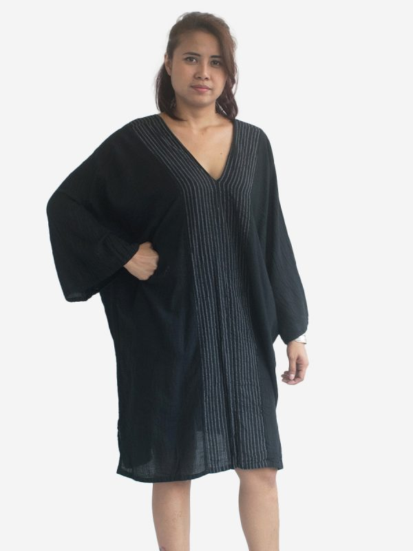 Black Thai Cotton Kaftan Poncho Tunic