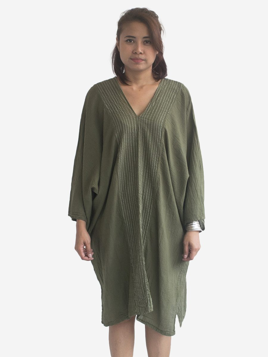 Autumn Green Thai Kaftan Poncho Tunic