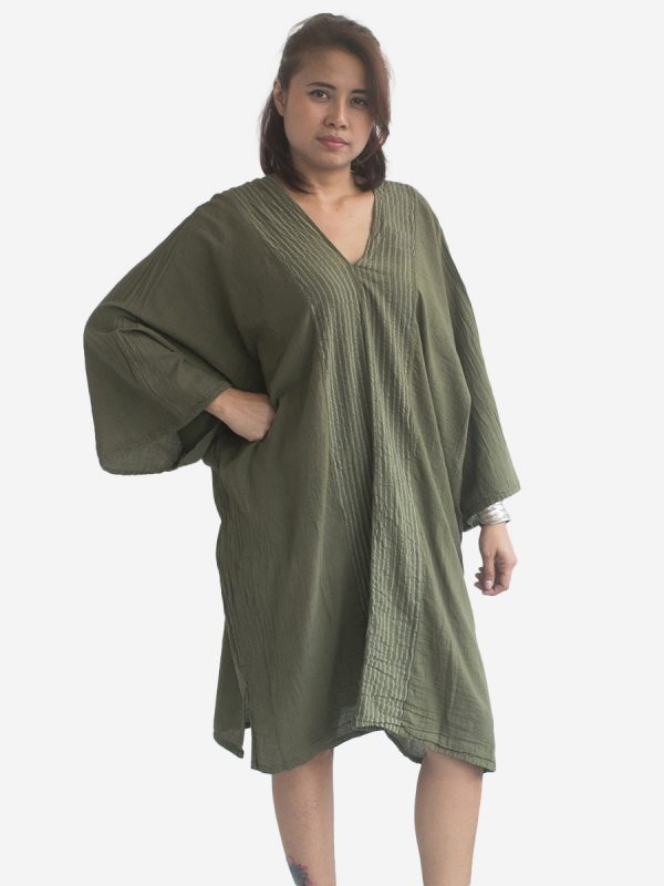Autumn Green Thai Kaftan Poncho Tunic