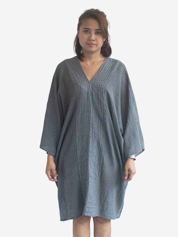 Grey Striped Kaftan Poncho Tunic