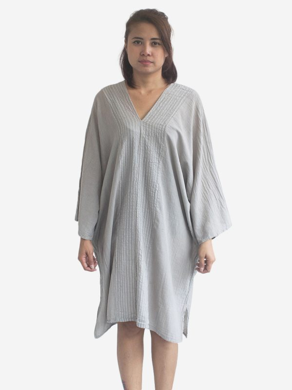 Light Grey Striped Kaftan Poncho Tunic