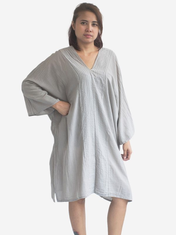 Light Grey Striped Kaftan Poncho Tunic