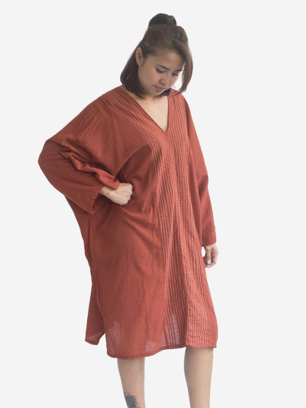 Earthy Thai Cotton Kaftan Poncho Tunic