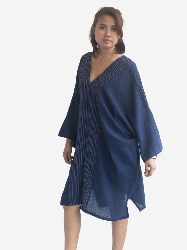 Navy Thai Cotton Kaftan Poncho Tunic