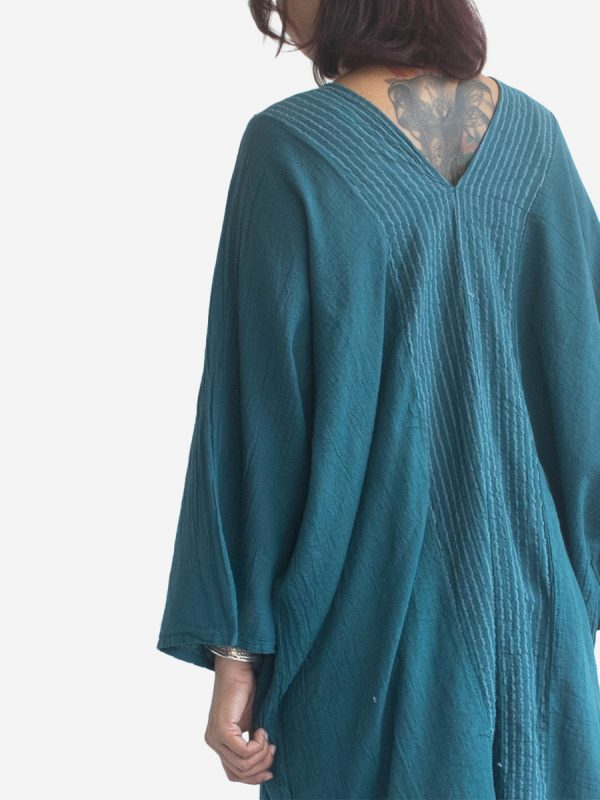 Long-Poncho-Kaftan-Thai-Cotton-Boho-Gypsy-Dress-Turquoise-3