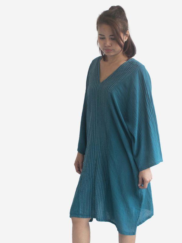 Turquoise Striped Kaftan Poncho Tunic