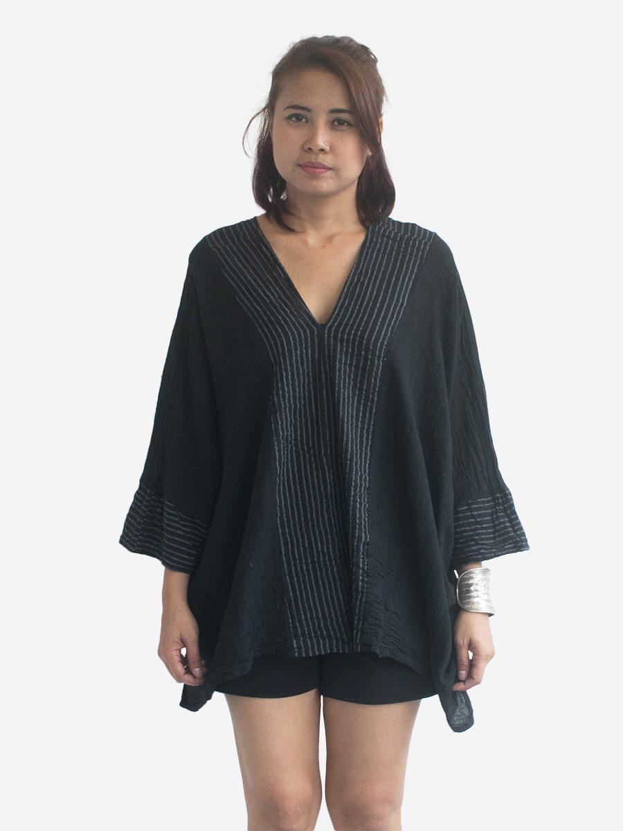 Short-Poncho-Kaftan-Thai-Cotton-Boho-Gypsy-Dress-Black-2