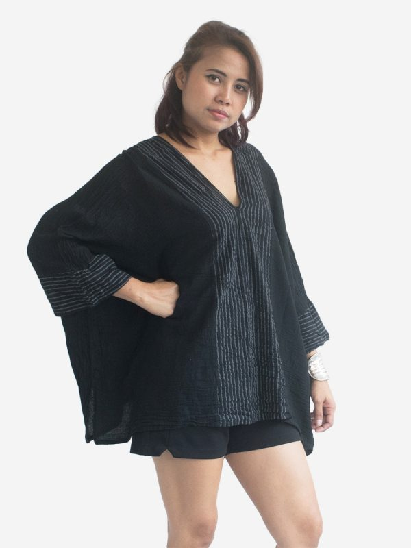 Short-Poncho-Kaftan-Thai-Cotton-Boho-Gypsy-Dress-Black