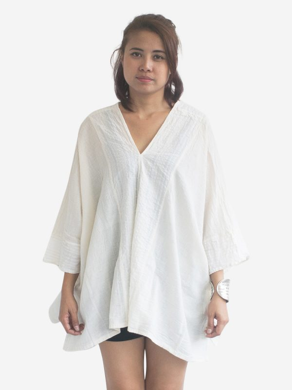 Cream / White Thai Cotton Kaftan Poncho