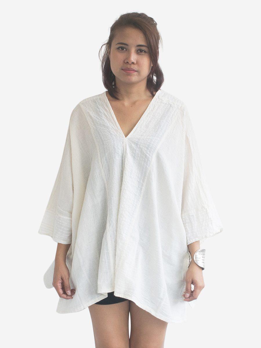 Cream / White Thai Cotton Kaftan Poncho