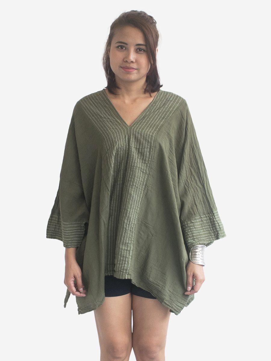 Autumn Green Kaftan V-Neck Poncho