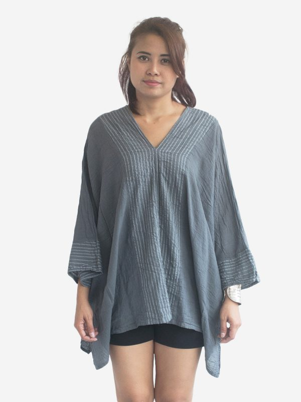 Dark Grey Thai Cotton Kaftan Poncho