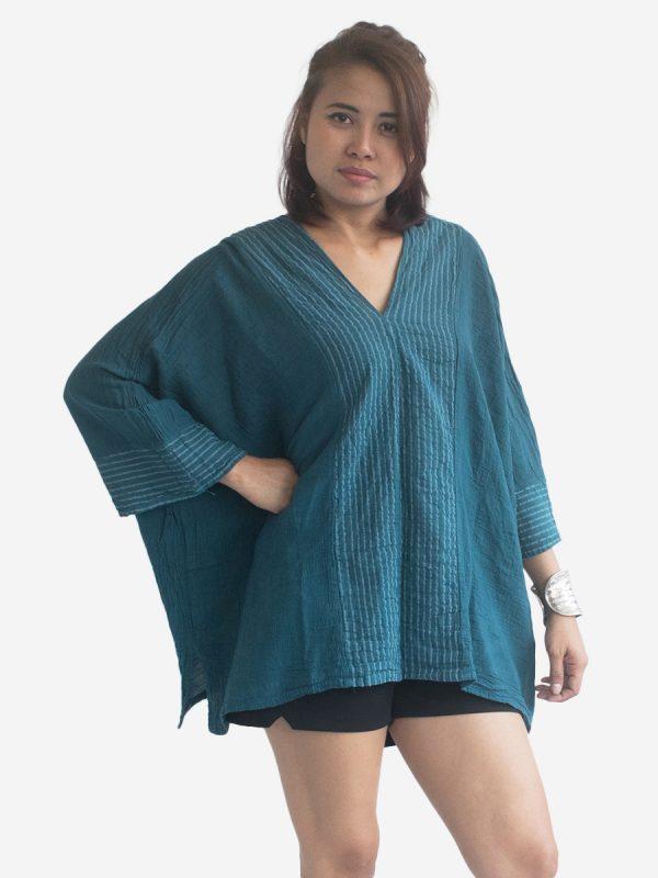 Turquoise Gypsy Kaftan Poncho Dress