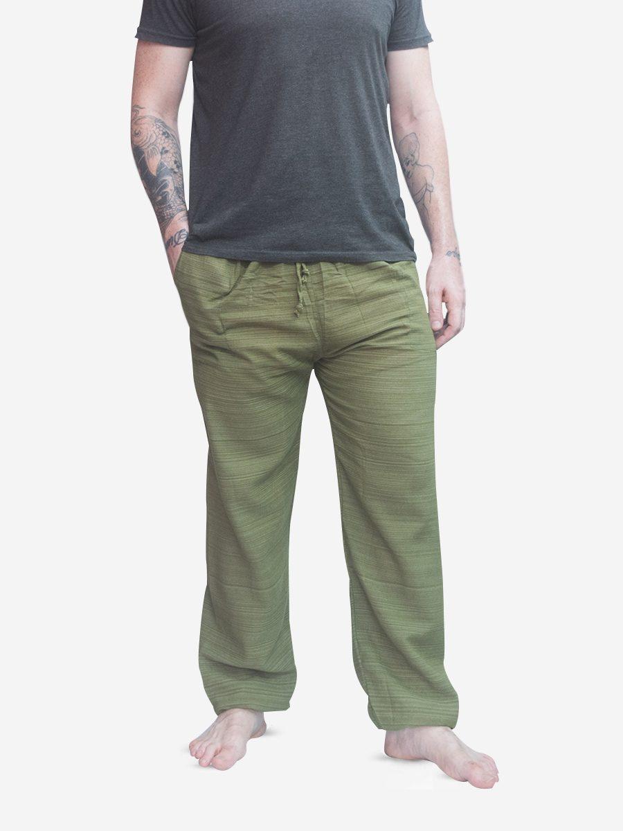 Men's Army Green Pinstripe Thai Cotton Joggers