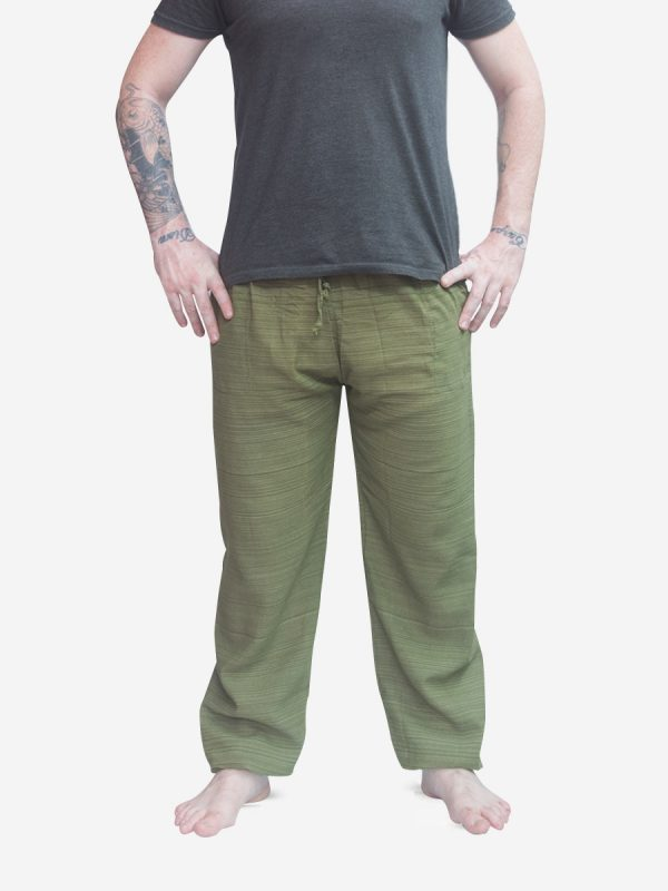 Men's Army Green Pinstripe Thai Cotton Joggers