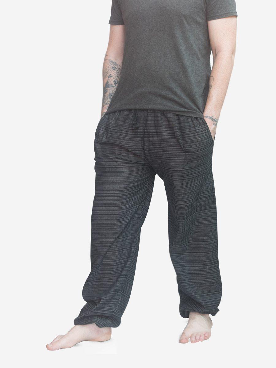 Men's Black Thai Cotton Pinstripe Joggers