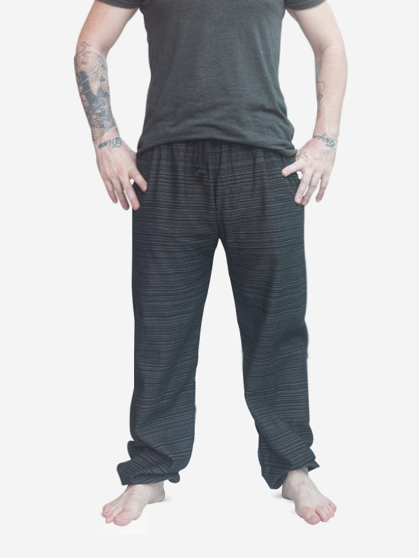 Men's Black Thai Cotton Pinstripe Joggers