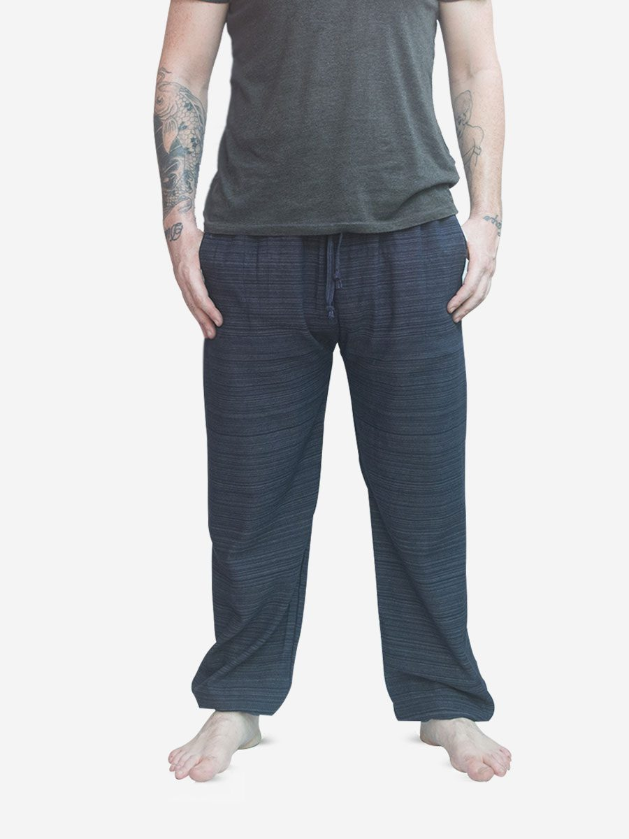 Men's Navy Blue Thai Cotton Pinstripe Jogger Trousers