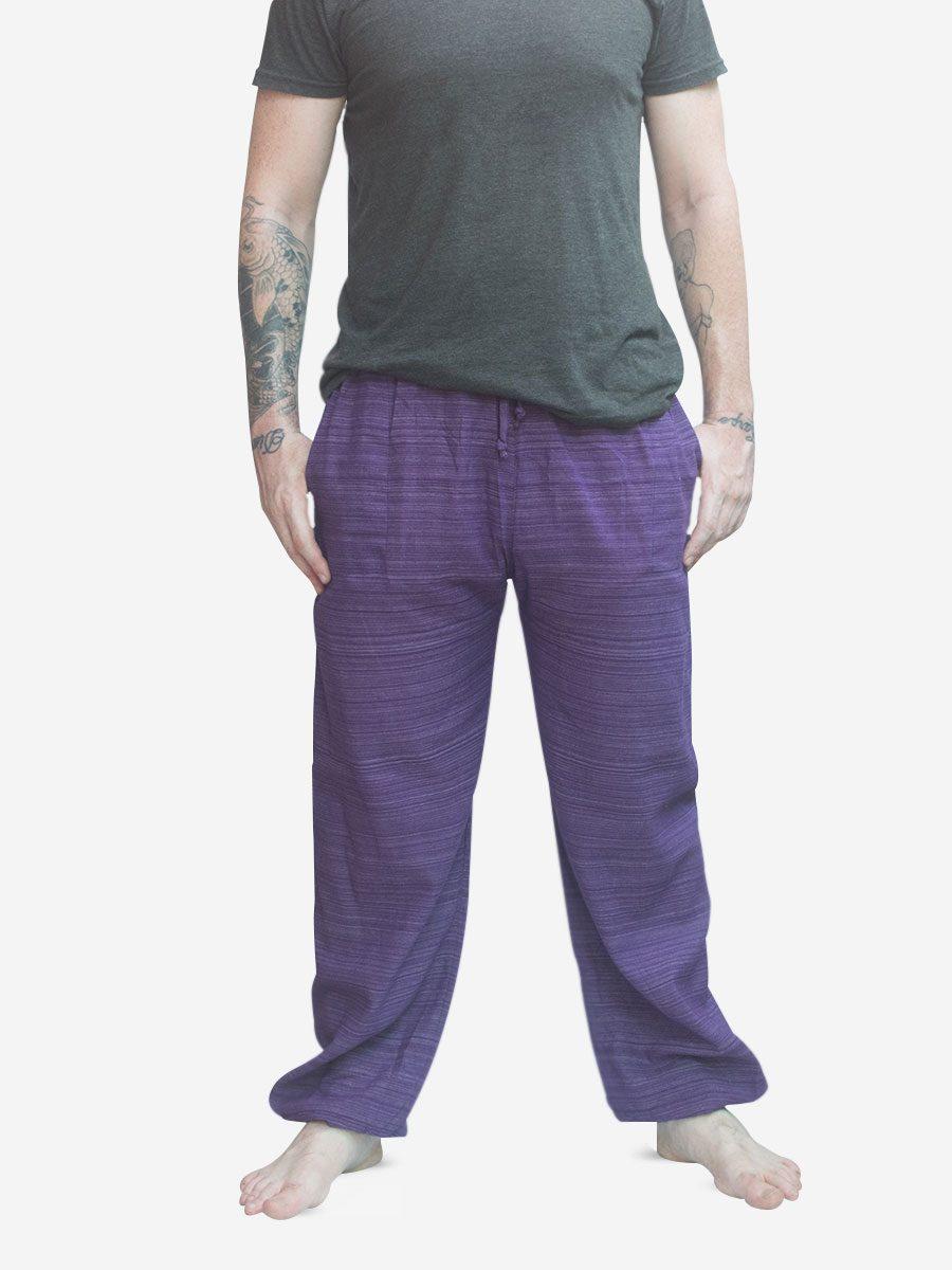 Men's Purple Thai Cotton Pinstripe Joggers