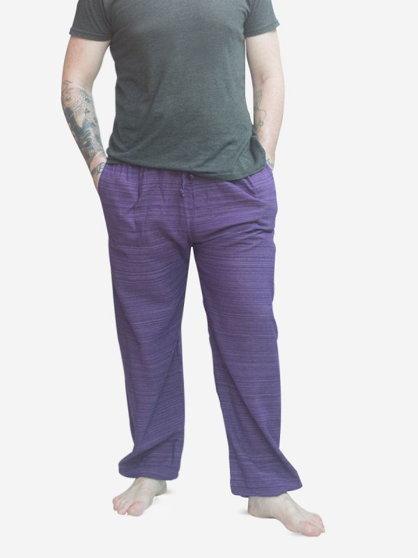 Men's Purple Thai Cotton Pinstripe Joggers