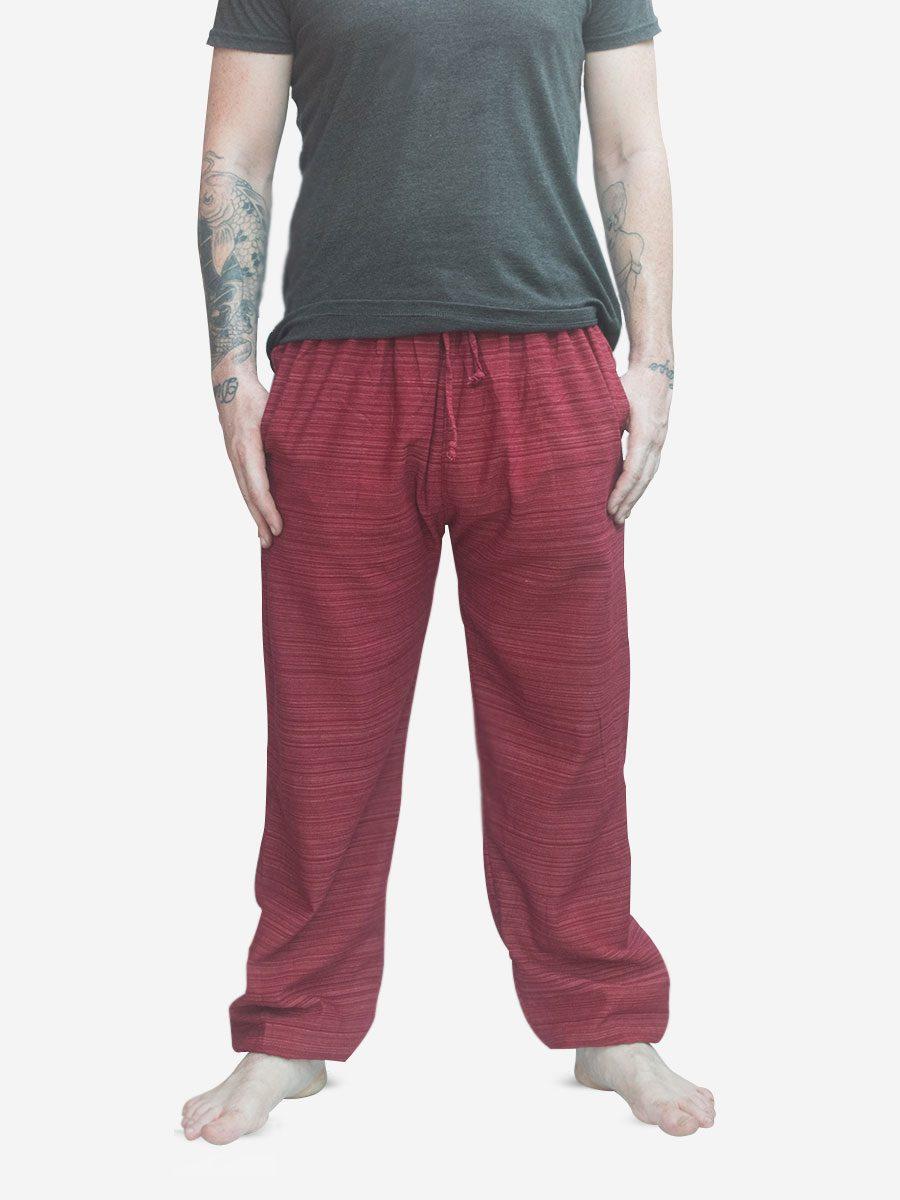 Men's Burgundy Red Thai Cotton Pinstripe Joggers